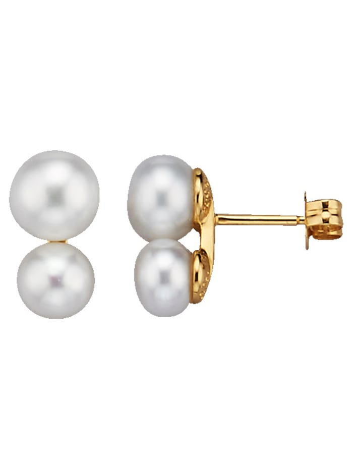 Diemer Perle Ohrstecker mit Süßwasserzuchtperlen, Weiß