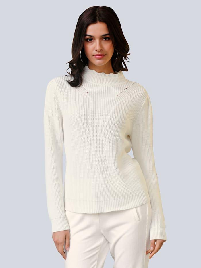 Alba Moda Pullover im effektvollen Halbpatentstrick, Off-white