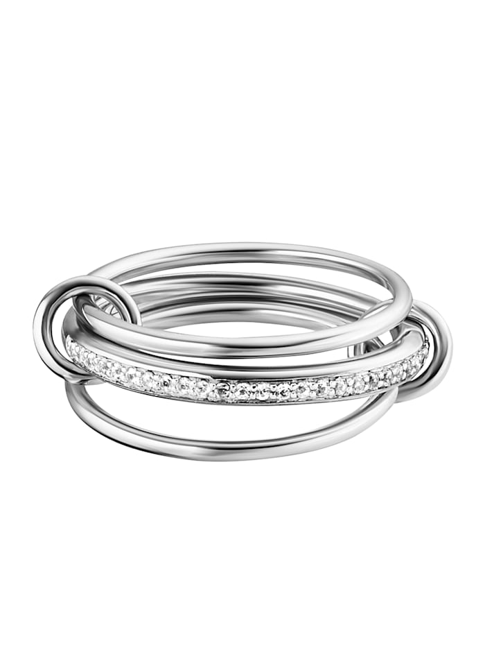 CAI Ring 925/- Sterling Silber Topas weiß rhodiniert 0,004ct/pc. 925/- Sterling Silber, weiß