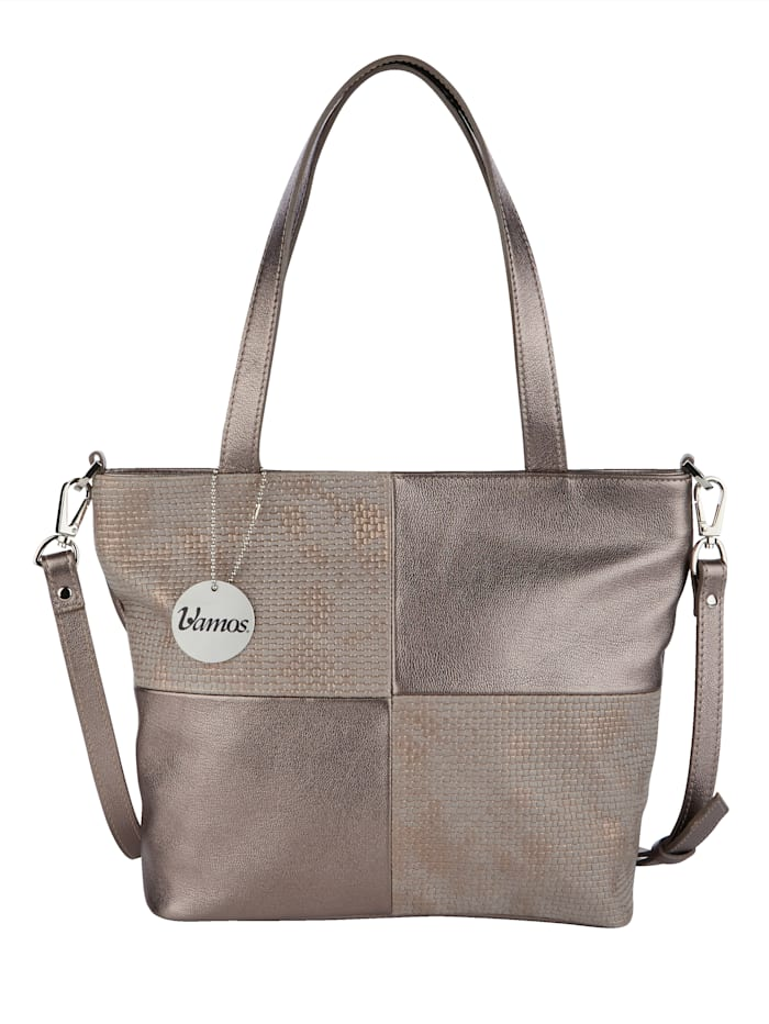 Vamos Handtasche mit zwei Tragevarianten, bronzefarben-kombi