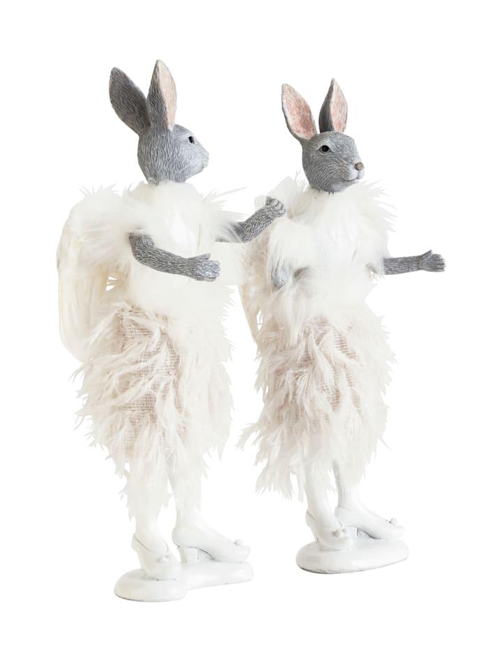 Lot de 2 figurines lapins, ballerine