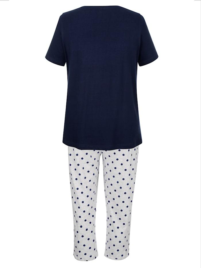 Harmony Schlafanzug mit hübschem Schmetterings-Druck, Marineblau/Grau