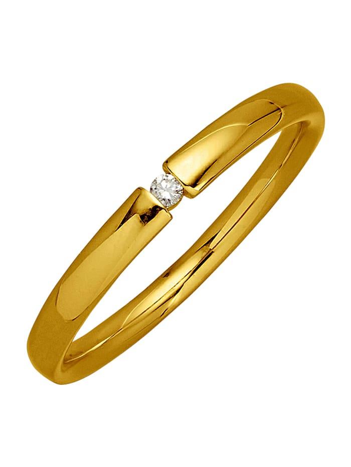 Ring med 1 diamant, Guldfärgad