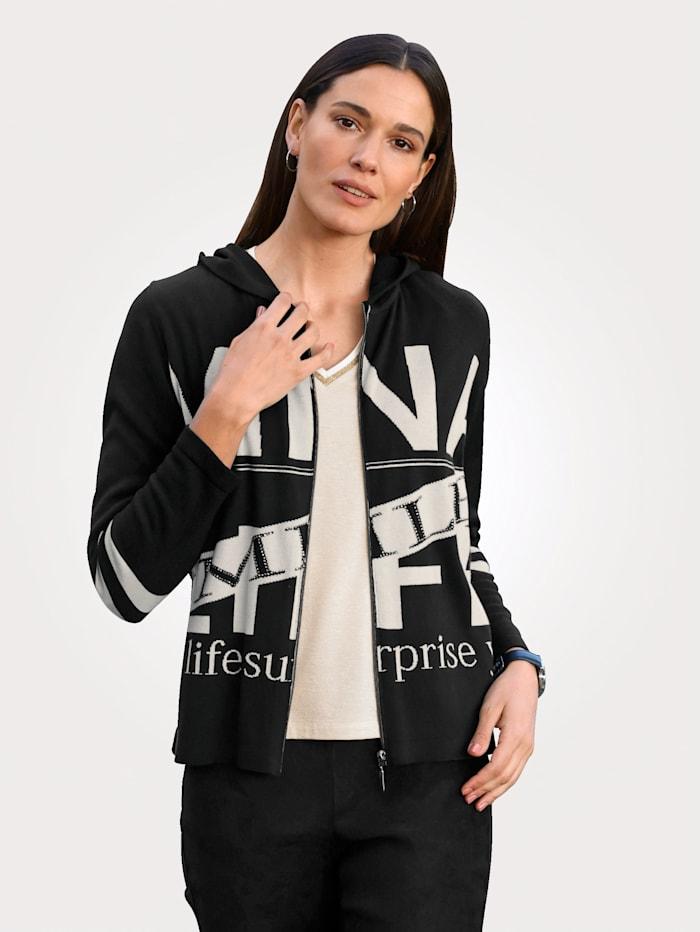 MONA Vest met hoogwaardig jacquardpatroon, Zwart/Beige