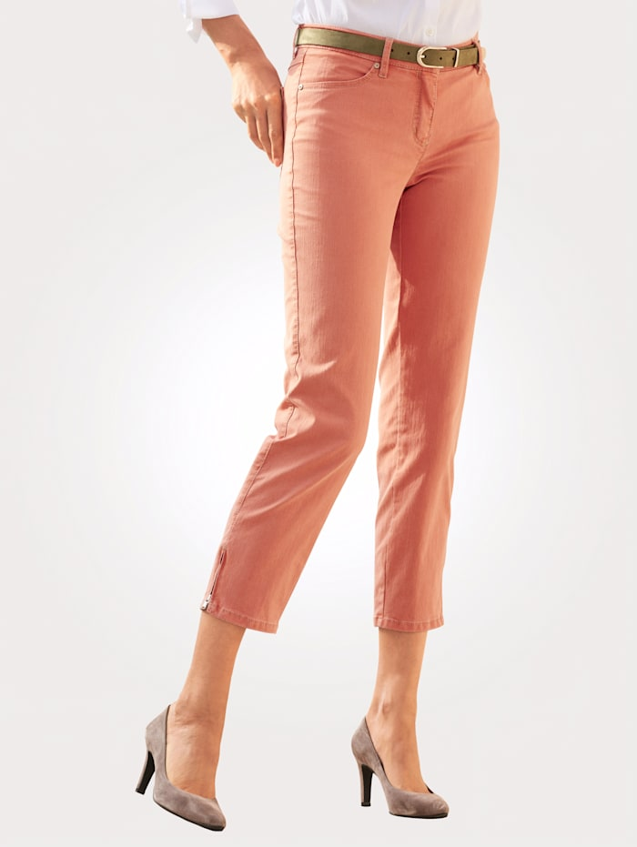 Toni Cropped jeans with zipped hem, Terracotta