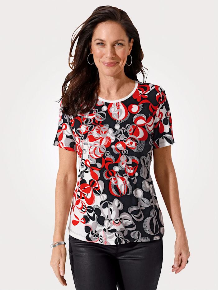 MONA Shirt met grafisch dessin, Wit/Rood/Zwart