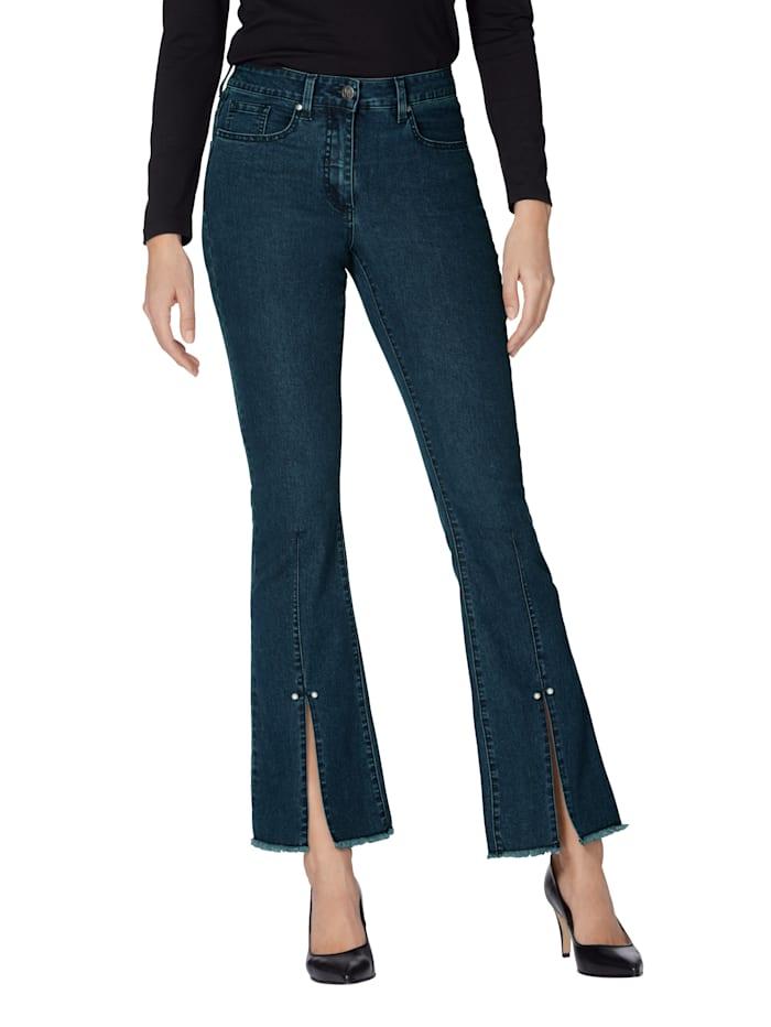 AMY VERMONT Jeans met split aan de zoom, Blue stone