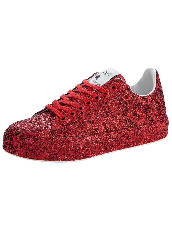 Sneaker van fonkelend glittermateriaal, Rood