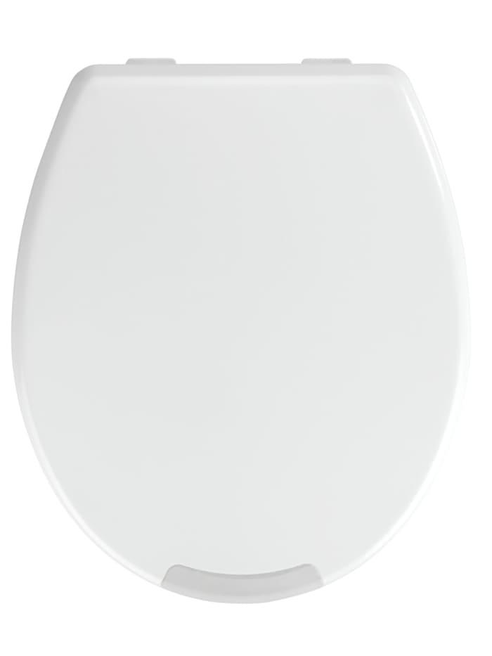 Wenko WC-Sitz Secura Comfort, aus antibakteriellem Duroplast mit Sitzflächenerhöhung, WC-Sitz: Weiß, Grifffläche: Grau, Befestigung: Weiß