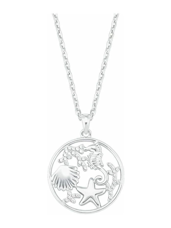 amor Kette mit Anhänger für Damen, Sterling Silber 925, Zirkonia Seestern, Silber
