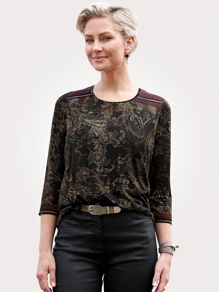 MONA Shirt mit Paiselydruck, Khaki/Rost