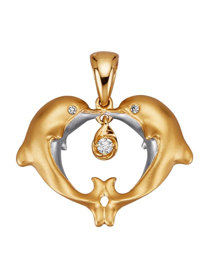"Amara Diamants Pendentif ""Dauphin"" en or jaune 585, Coloris or jaune"