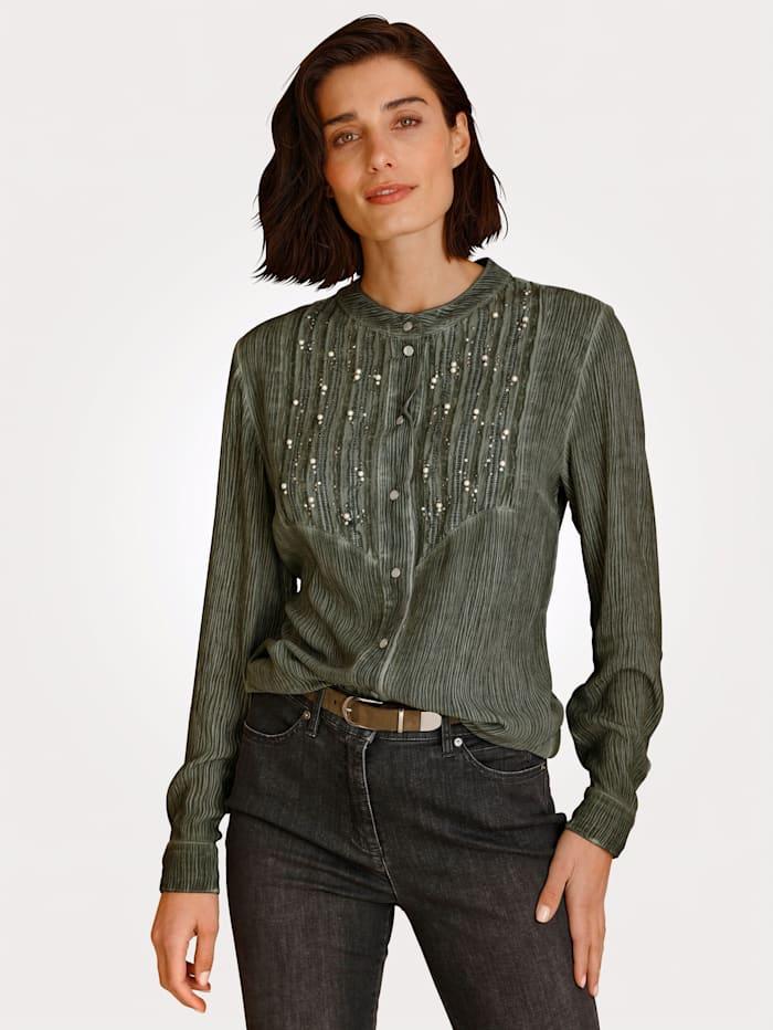 MONA Bluse mit modischer Waschung, Khaki