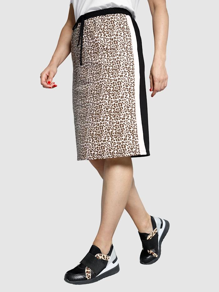 MIAMODA Leopardikuosinen hame, Musta/Beige/Kermanvalkoinen
