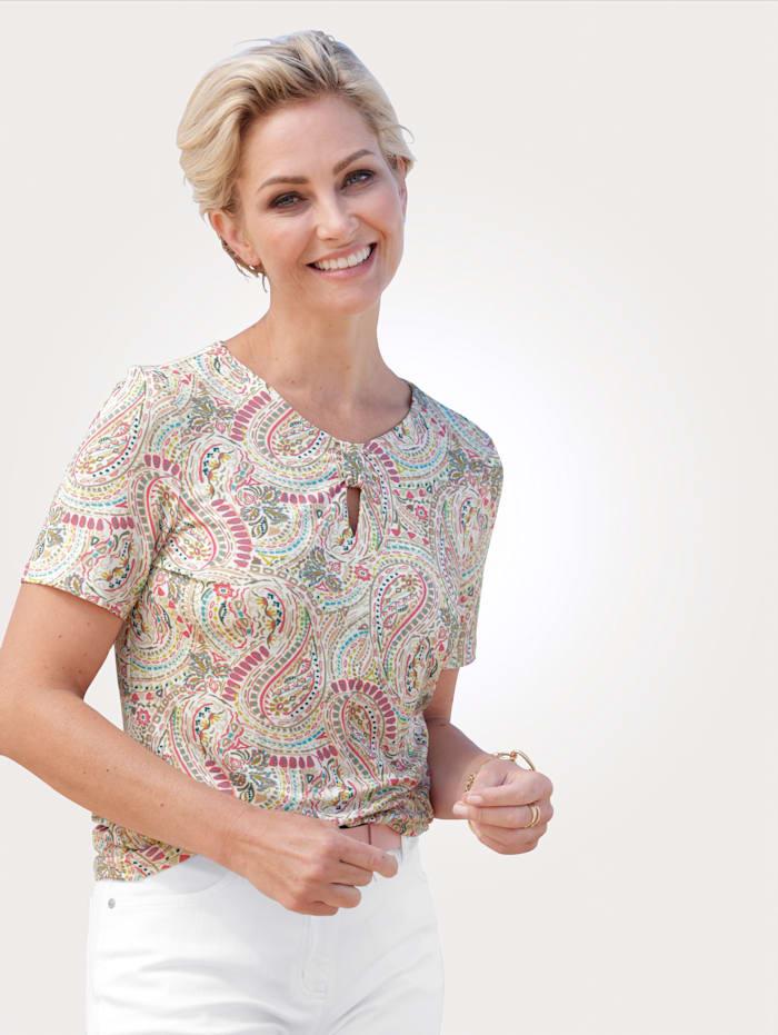 Barbara Lebek Shirt mit Allover-Druck, Beige/Pink/Grün