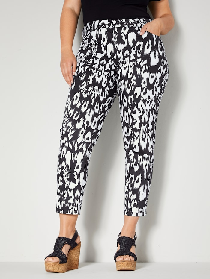 Sara Lindholm Hose allover animal bedruckt, Schwarz/Off-white