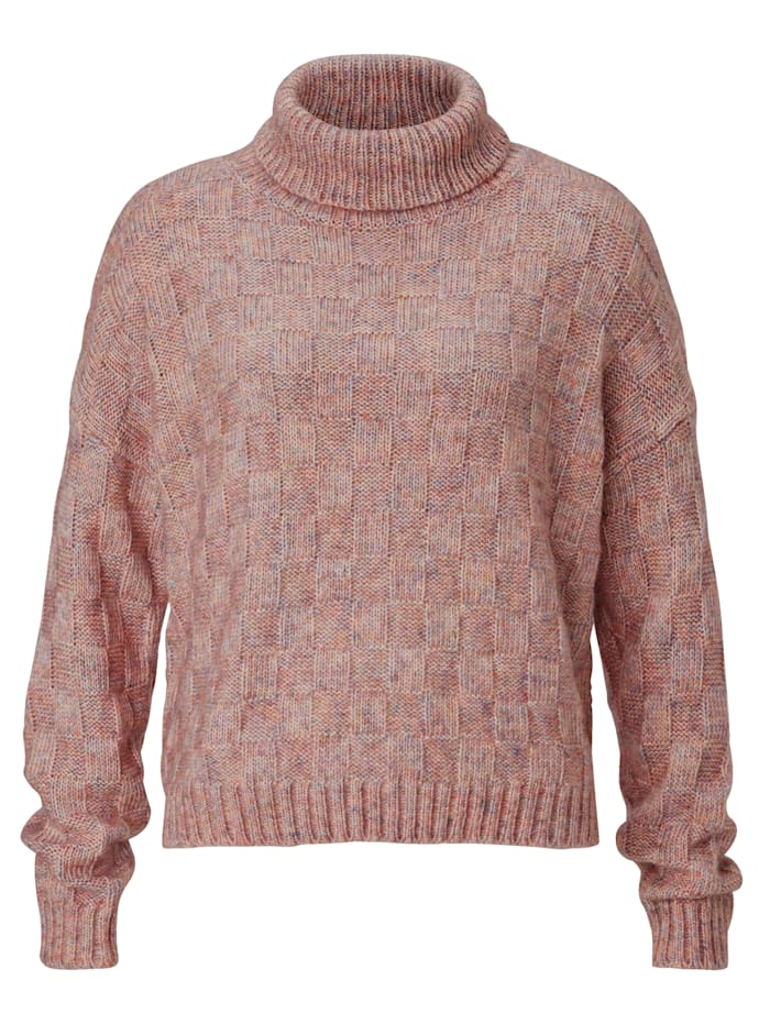 REKEN MAAR Pullover mit Schachbrettmuster, Rosé