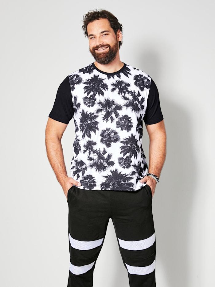 Men Plus T-shirt van zuiver katoen, Zwart/Wit