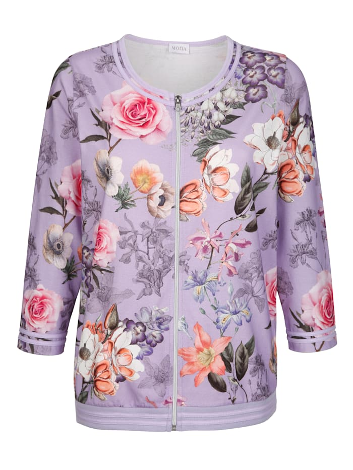 Shirtjacke mit floralem Druck