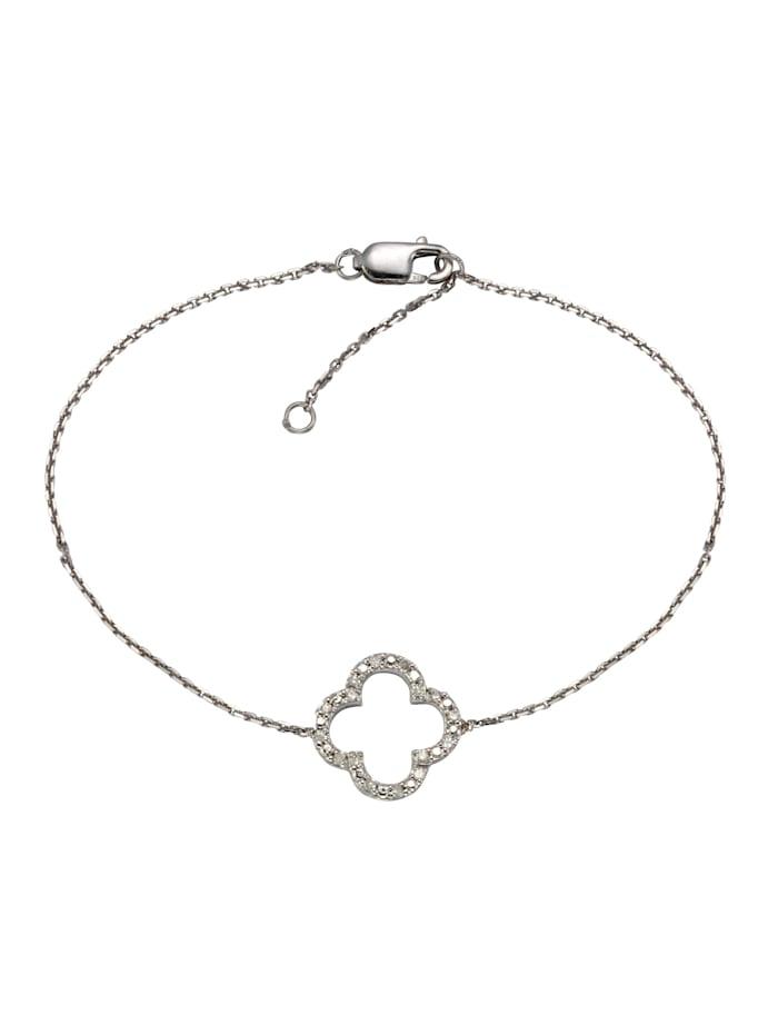 Celesta Armschmuck 925/- Sterling Silber Diamant Diamant 18cm Glänzend 0,06, Silbergrau