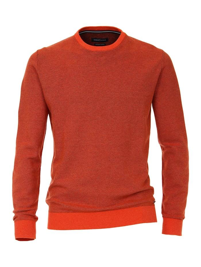 CASAMODA Pullover mit Rundhalsausschnitt uni, Orange