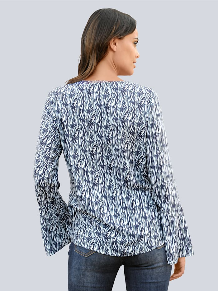 Blouse met abstract dessin