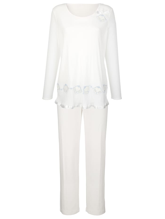 Simone Pyjama van comfortabele geribde jersey, Ecru/Lichtblauw