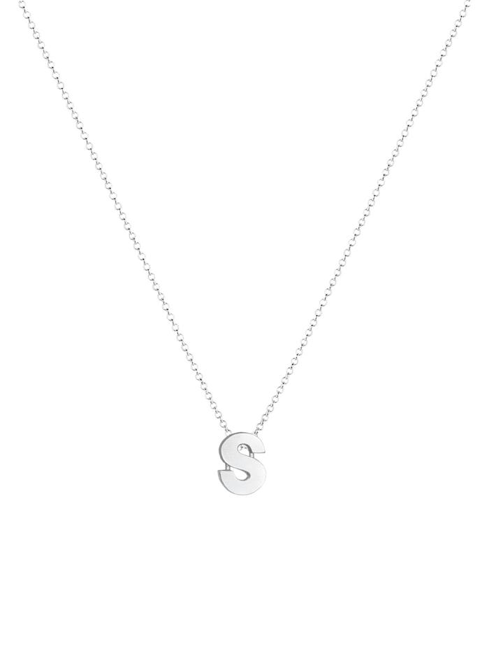 Halskette Femme Pendentif Lettre S Initiale - (925/1000) Argent