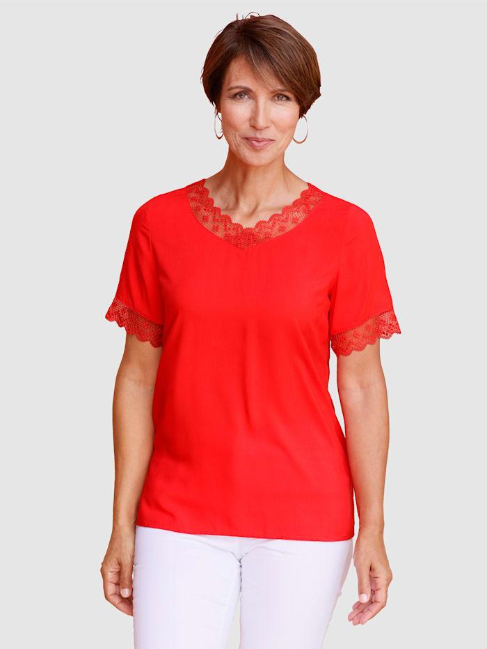 Paola Blusenshirt mit Spitze, Rot