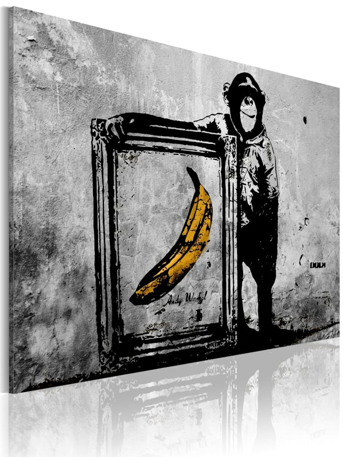 artgeist Wandbild Inspired by Banksy - black and white, Grau,Schwarz,Gelb