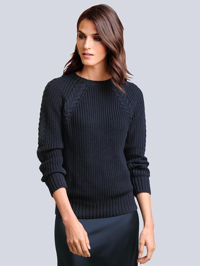 Alba Moda Pullover mit filigranem Zopfmuster, Marineblau