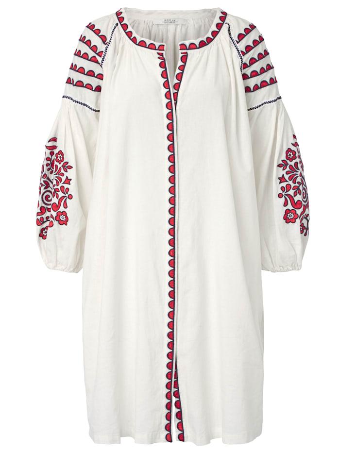 REPLAY Kleid Mit Stickereien und Zackenlitze, Weiß