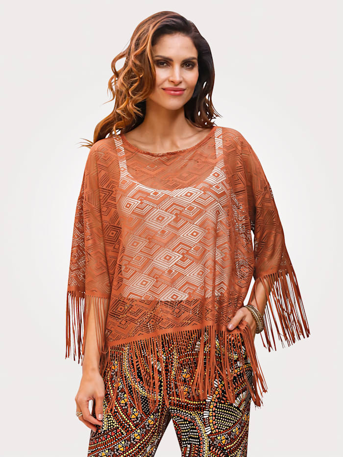 Lace top with a fringe trim