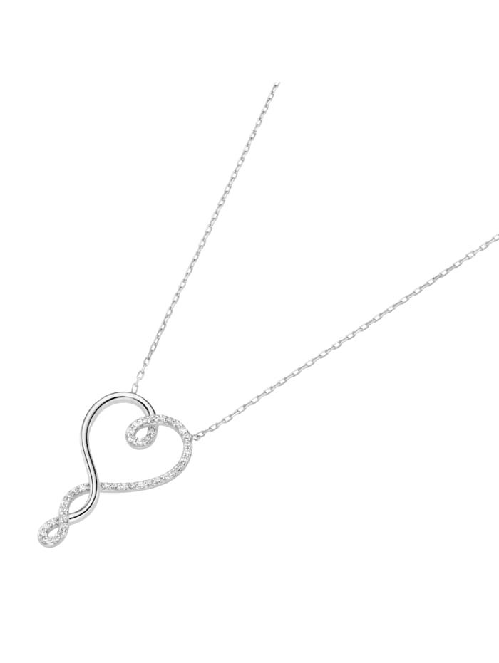 Smart Jewel Collier mit Herz, Zirkonia Steine, Silber 925, Silber