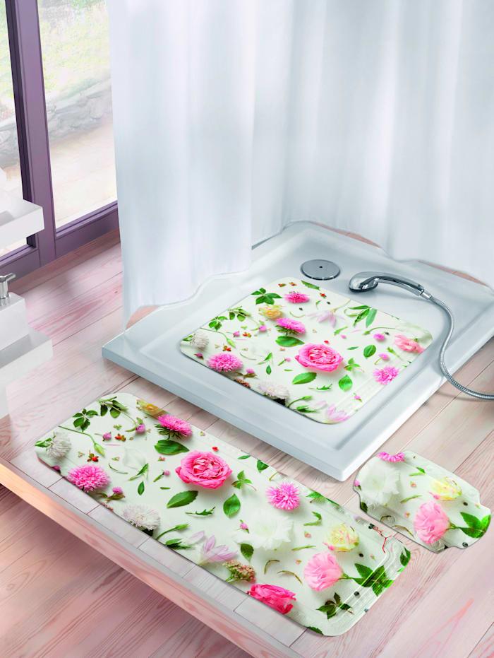 Badekarmatte med blomstermønster