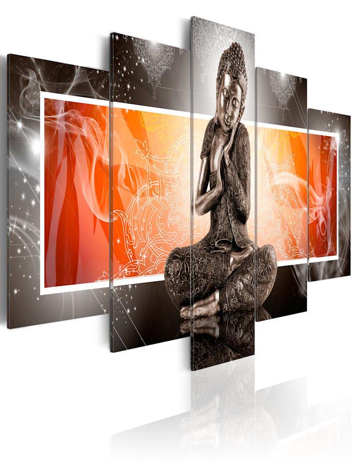 artgeist Wandbild Buddha und Ornamente, Grau,Orange,Rot
