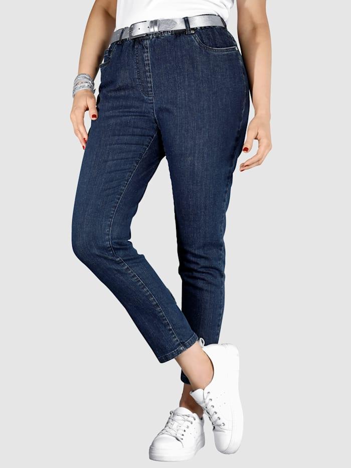 MIAMODA Jeggings mit schönen Schleifen am Beinabschluss, Dark blue