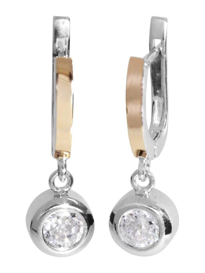 OSTSEE-SCHMUCK Ohrhänger - Sunny Exklusiv - Silber 925/000 & Gold 585/000 - Zirkonia, silber