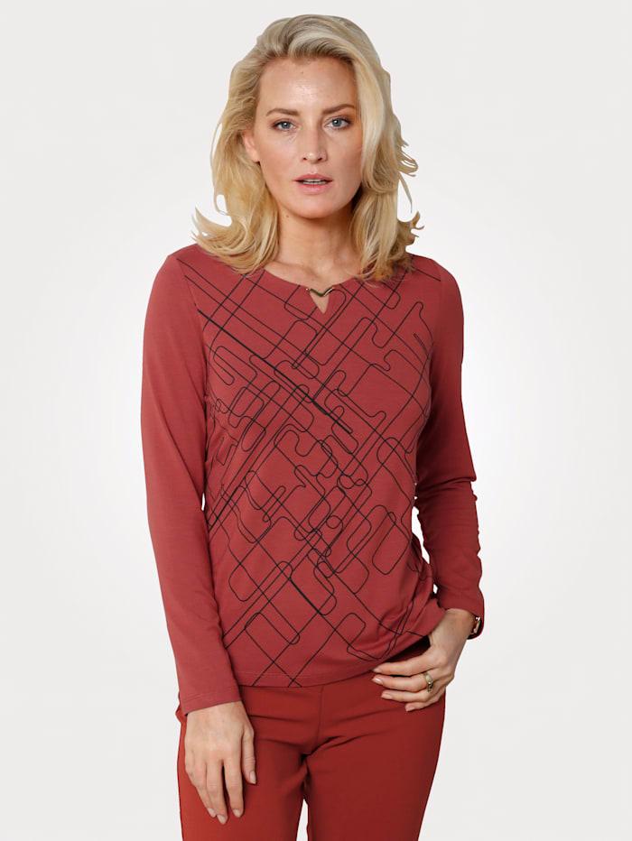 MONA Shirt met grafisch patroon voor, Roest
