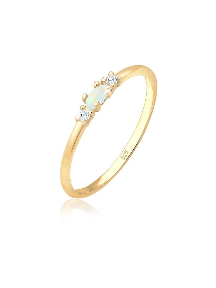 Elli Ring Vintage Opal Zirkonia 925 Sterling Silber, Gold