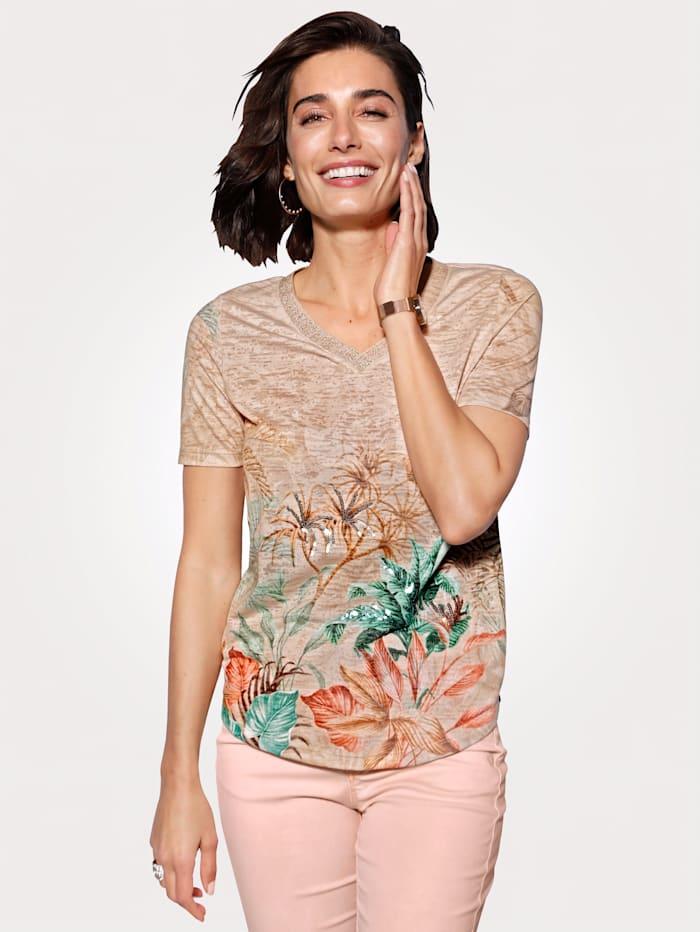 MONA Shirt in Ausbrenner-Qualität, Beige/Grün/Lachs