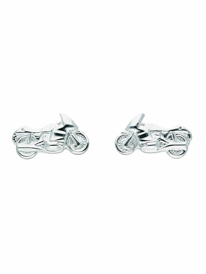 1001 Diamonds Damen Silberschmuck 925 Silber Ohrringe / Ohrstecker Motorrad, silber