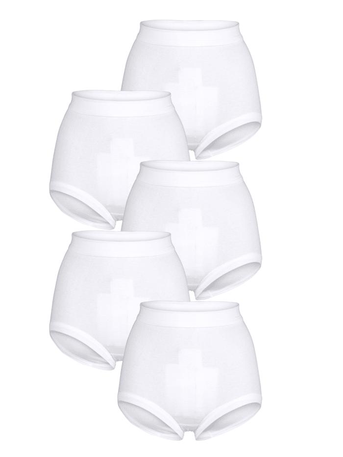 HERMKO Taillenslips im 5er-Pack mit extra hohem Leib, Weiß