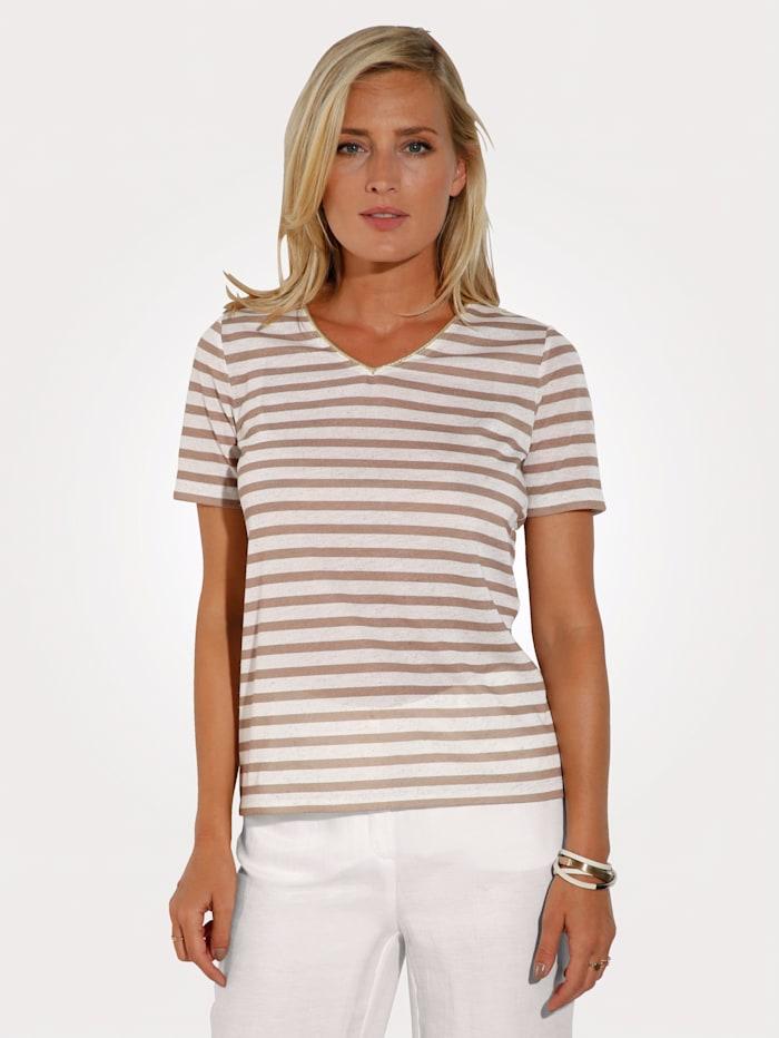 T-shirt avec passepoil de coloris doré