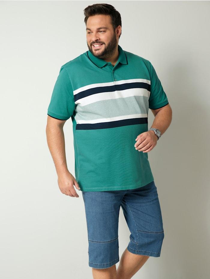 Men Plus Poloshirt aus reiner Baumwolle, Grün/Weiß