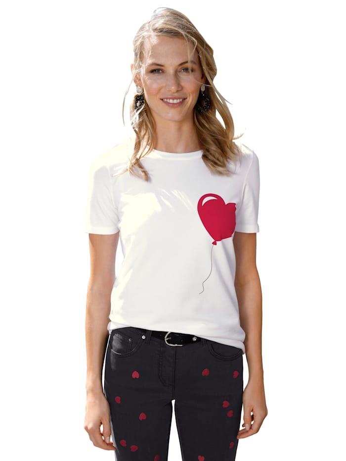 AMY VERMONT Shirt mit Herz-Aufdruck, Weiß/Rot