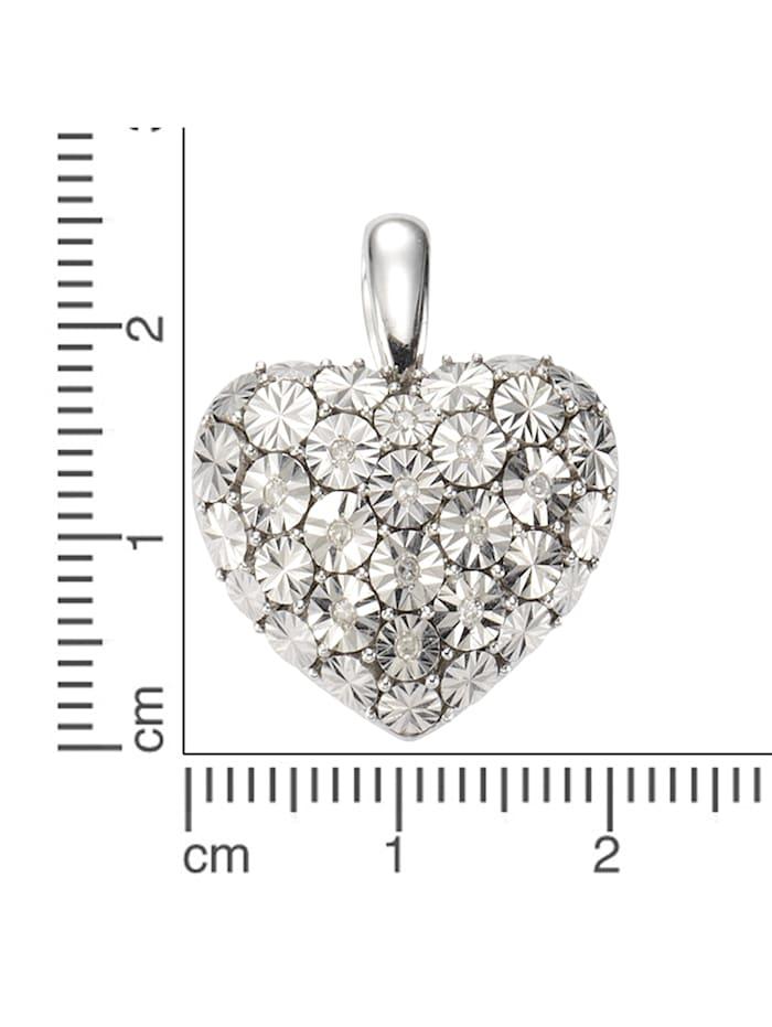 Anhänger 925/- Sterling Silber Diamant weiß Diamant 2,4cm Glänzend 0,07ct.