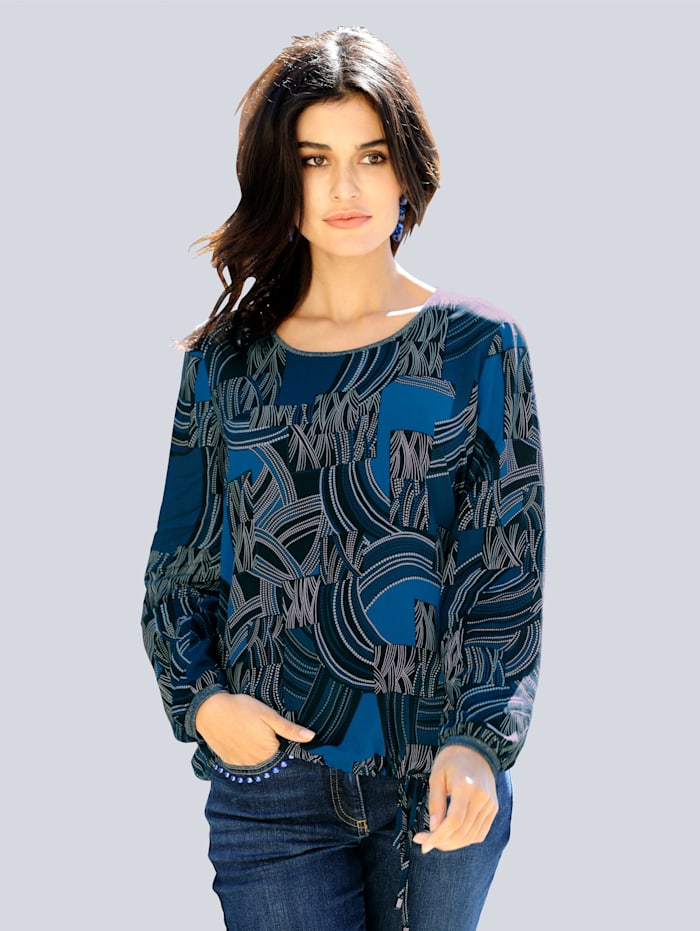 Alba Moda Bluse mit grafischem Dessin allover, Royalblau/Marineblau