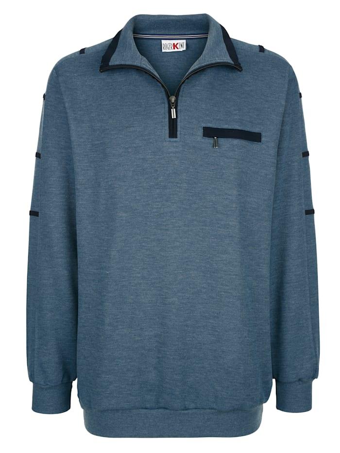 Roger Kent Sweatshirt mit Kontrastverarbeitung, Blau