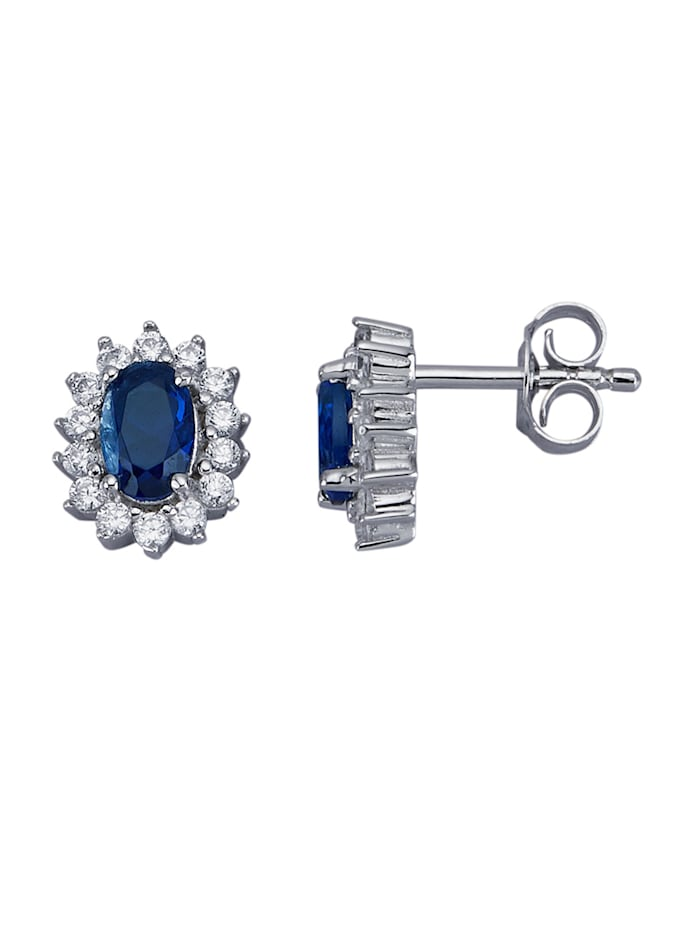Oorstekers met kristal en synth zirkonia, Blauw